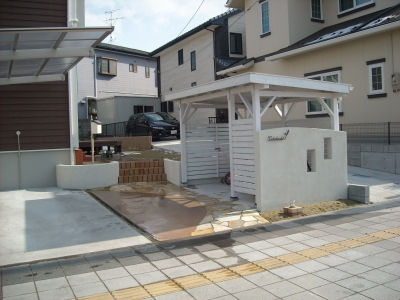 石貼りアプローチ/レンガ階段