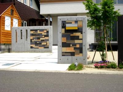 宮城県富谷町/モザイクタイルとRCの門壁/エクステリア&ガーデンのジーランド