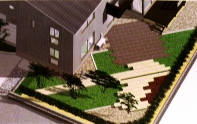 宮城県仙台市/大谷石の庭完成イメージ/エクステリア&ガーデンのジーランド
