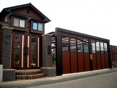 宮城県多賀城市/品格ある門扉とハンガーゲート/エクステリア&ガーデンのジーランド