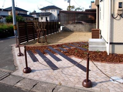 宮城県仙台市/枕木とレンガの敷物/エクステリア&ガーデンのジーランド